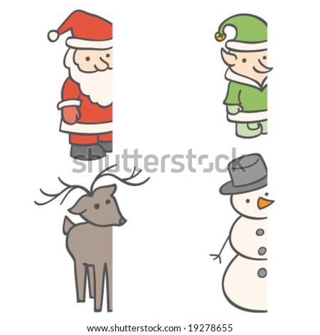 Christmas Frame Characters - stock vector