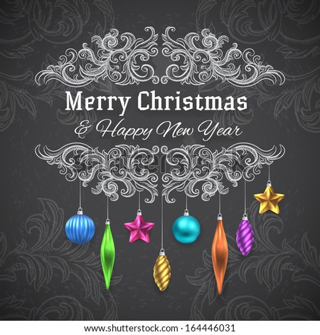 Christmas frame decoration - chalkboard draw - stock vector