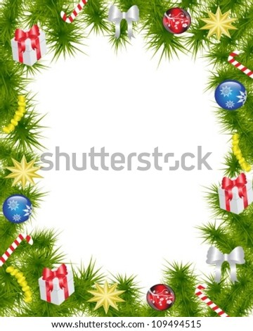Christmas frame made of fir branches adorned with Christmas decorations, gifts, stars and candy - stock vector