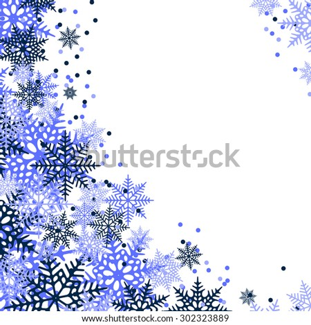 Christmas frame of blue snowflakes. White background. Empty space for your text.