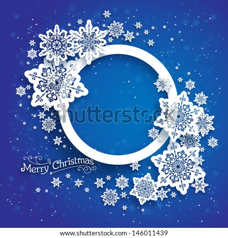 Christmas frame on blue background with space for text - stock vector