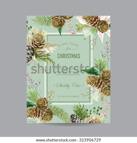 Christmas Frame or Card - in Watercolor Style - vector - stock vector
