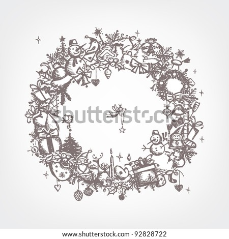 Christmas frame, sketch drawing for your design - stock vector