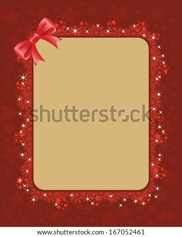 Christmas Frame Vector. Red christmas frame with snowflakes, shiny stars and a bow. Objects grouped and layered and easy to edit.