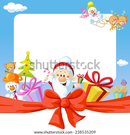 christmas frame wit Santa Claus and gifts- funny vector background illustration - stock vector
