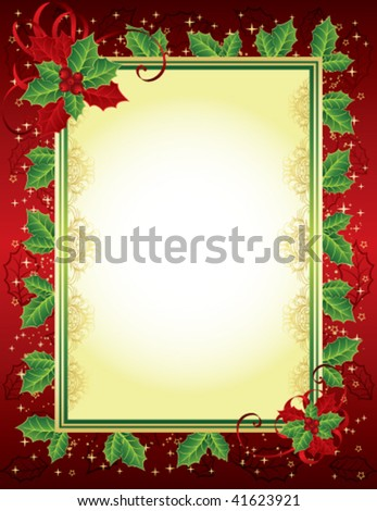 Christmas frame with holly - stock vector