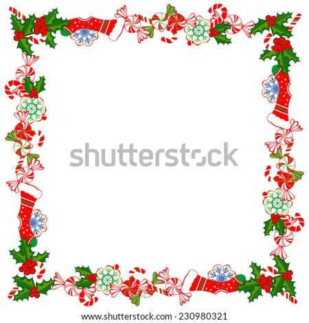 Christmas Frame With Holly Decoration. Colorful design. Vector illustration.