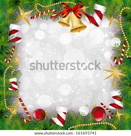 Christmas Frame With Holly Decoration. Vector - stock vector