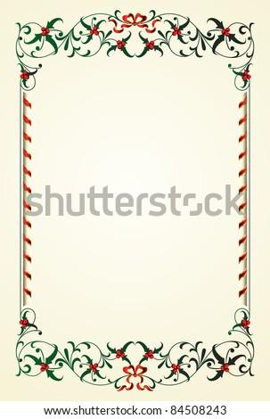 christmas frame with mistletoe - stock vector