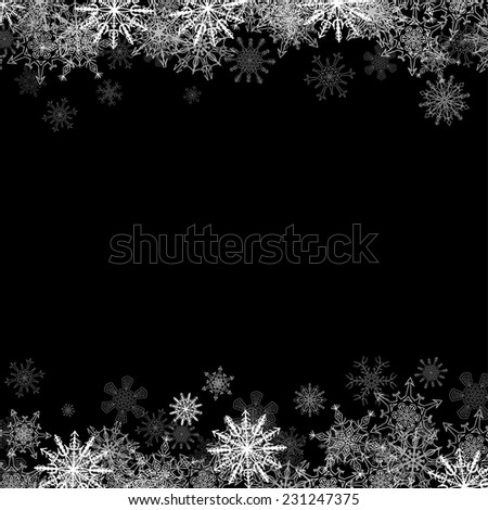 Christmas frame with small snowflakes layered on top and bottom - stock vector