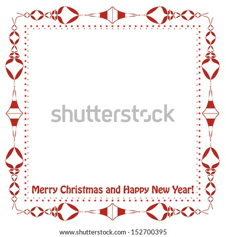 Christmas frame with text. Vintage style red Christmas frame design with sample text. Isolated editable vector design.