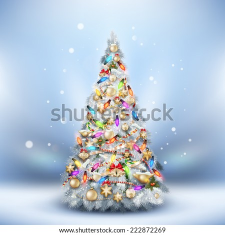 Christmas Frost fir tree on light blue. EPS 10 vector file included - stock vector