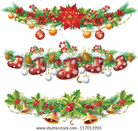 Christmas garland - stock vector