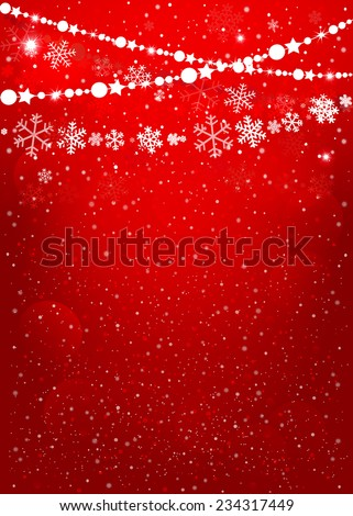 Christmas garland in red background. Vector EPS10 - stock vector