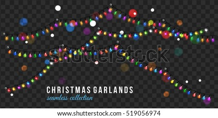 Christmas garland isolated on transparent background stock vector
