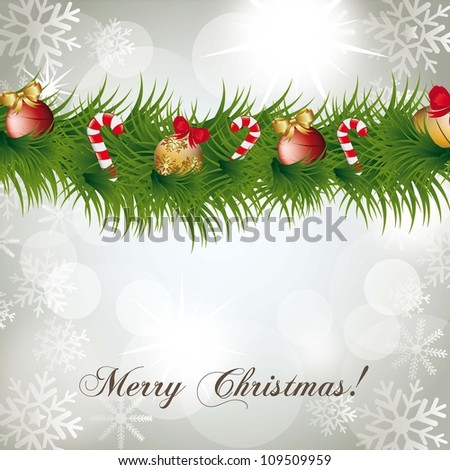 christmas garland over white abstract lights background. vector