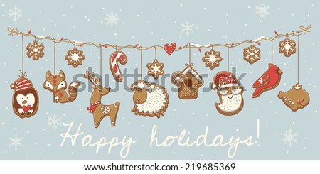 Christmas garland set design. Vector illustration