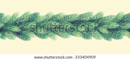 Christmas garland with fir branches. Fir seamless stripe. Retro vector illustration - stock vector