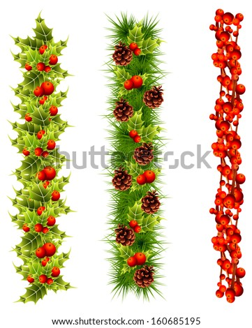 christmas garlands of fir tree, holly, red berries - stock vector