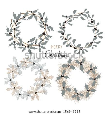 Christmas garlands set. - stock vector