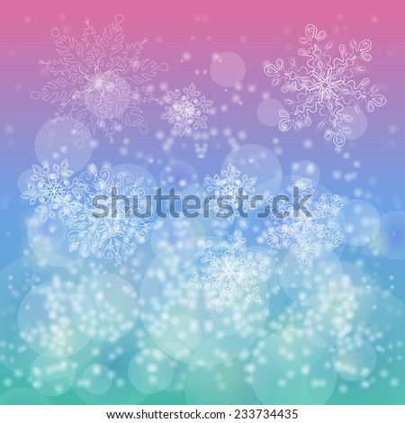 Christmas gentle background with snow and snowflakes - stock vector
