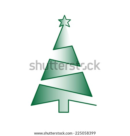 Christmas geometrical tree with the star on the white background. Abstract card for winter holidays. - stock vector
