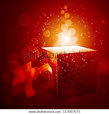 Christmas gift background with open gift box and glows - stock vector