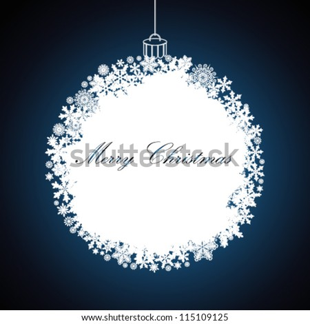 Christmas gift ball, snowflake design background. - stock vector