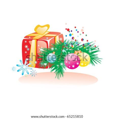 Christmas gift, balls and pine - stock vector