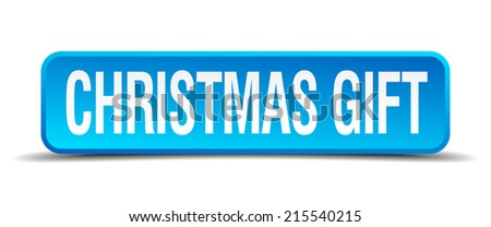 christmas gift blue 3d realistic square isolated button