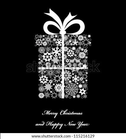 Christmas gift box from snowflakes. Christmas background. Vector - stock vector