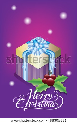 Christmas gift box, posters decorate the place.