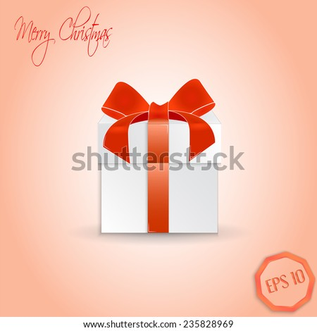 Christmas Gift box with ribbon and bow.  Made in vector illustration - stock vector