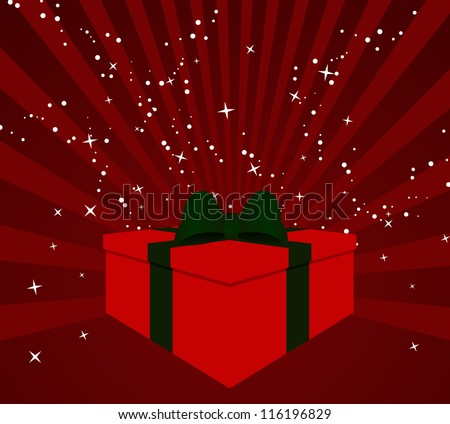 Christmas Gift Box with starburts background - stock vector