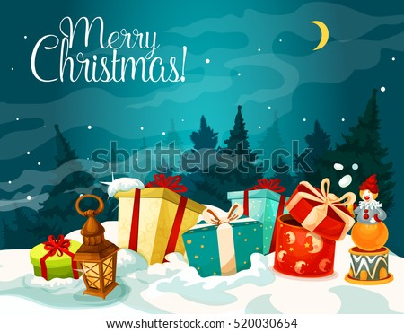 Christmas gift box xmas night forest stock vector 520030654 christmas gift box with xmas night forest greeting card festive boxes of christmas present with m4hsunfo