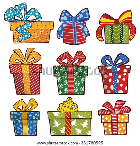 Christmas Gift boxes. Vector illustration - stock vector