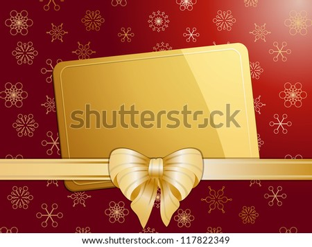 Christmas gift card with bow and ribbon on a red and gold snowflake background