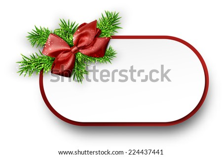 Christmas gift card with red bow and spruce twigs. Vector illustration.  - stock vector