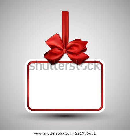 Christmas gift card with red ribbon and satin bow. Vector illustration. - stock vector