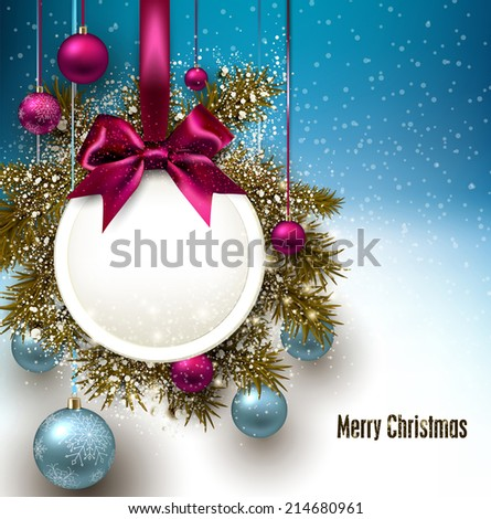 Christmas gift card with ribbon and Christmas baubles. Vector illustration. - stock vector