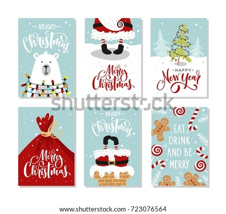 Christmas Gift Cards Tags Lettering Hand Stock Vector ...