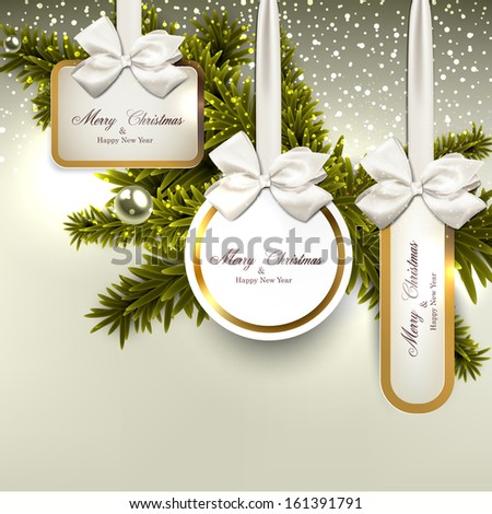 Christmas gift cards with ribbon and satin bows. Vector illustration.   - stock vector
