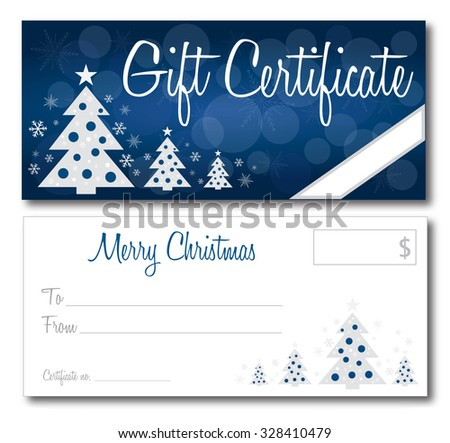 Christmas gift certificate back and front no shadow on the vector version 10 text outlined