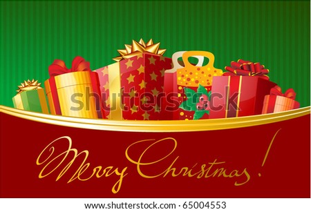 Christmas gift in decorated boxes. Vector greeting card template. - stock vector