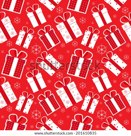 Christmas gift in red background. Seamless vector.