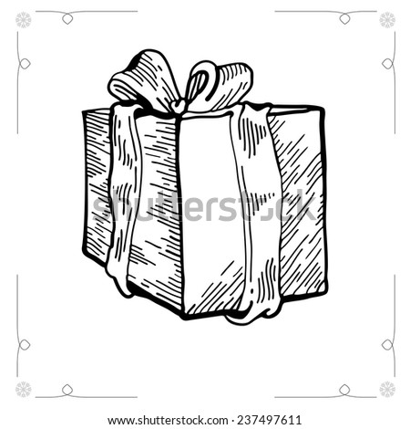 Christmas Gift isolated on white background. Outline Vector illustration gift boxes with bows and ribbons. Vector Christmas Gift. Graphic Engraving Style. EPS 8 - stock vector