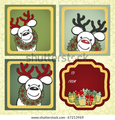 Christmas gift labels with elements of the Christmas decor. - stock vector