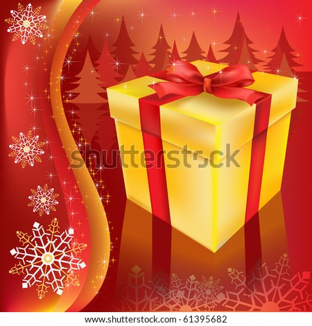 Christmas gift on a red background