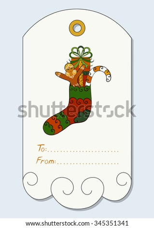 Christmas gift tag with hand-drawn christmas symbols - Christmas sock with gift, candy cane, gingerbread girl. Vector illustration. - stock vector