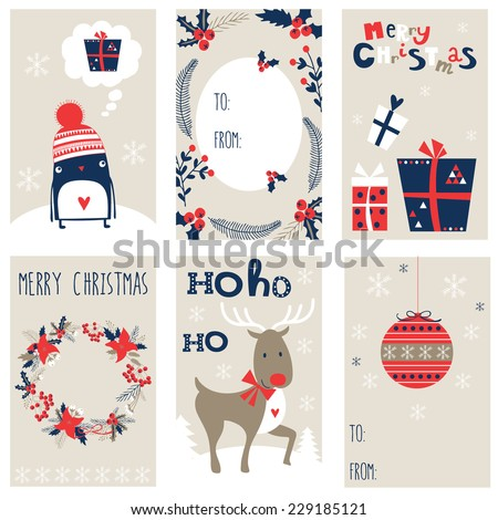 CHRISTMAS GIFT TAGS - stock vector